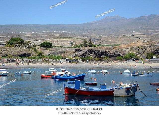 hafen, fischerhafen, Küste, Playa San Juan, Teneriffa, kanaren, kanarische inseln, spanien, atlantik, meer, ozean, felsenküste, westküste, strand, badestrand
