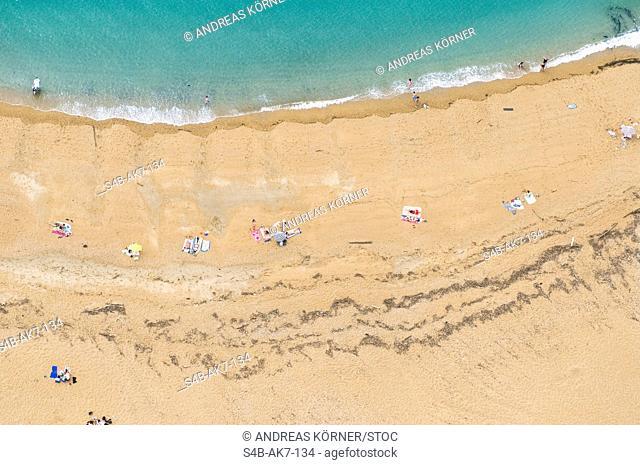 Peope at beach, Biarritz, Aquitaine, France