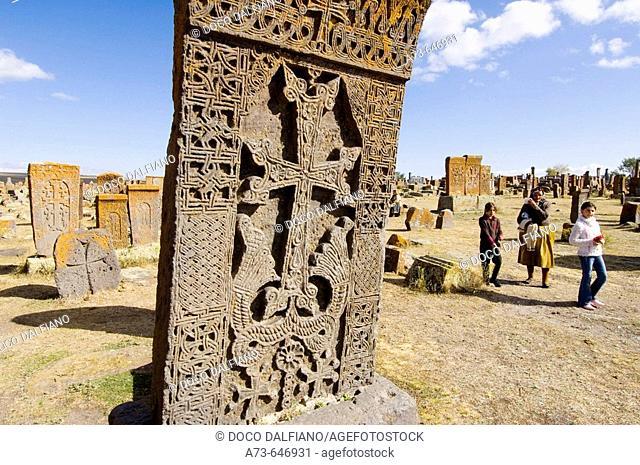 Cemetery with typical stone graves called 'khachkars', Noraduz. Armenia