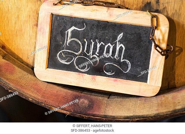 'Syrah' written on slate board, Leukersonne Winery, Switzerland
