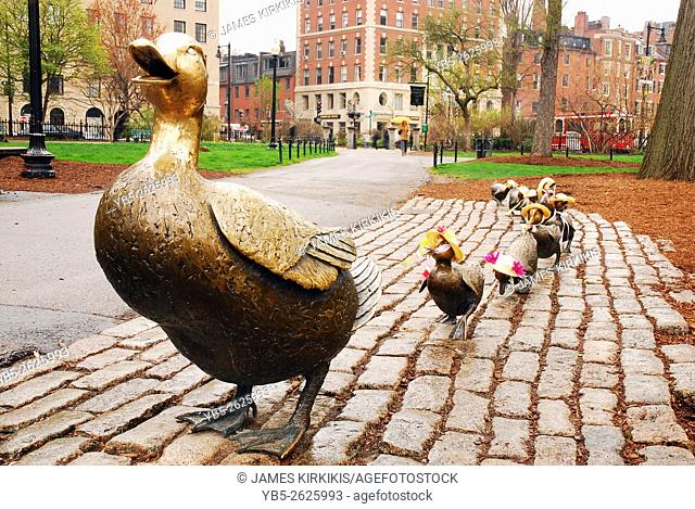 Make Way for the Ducklings, Bronze Statues Honoring a Famous Children's Story in Boston Publik Garden