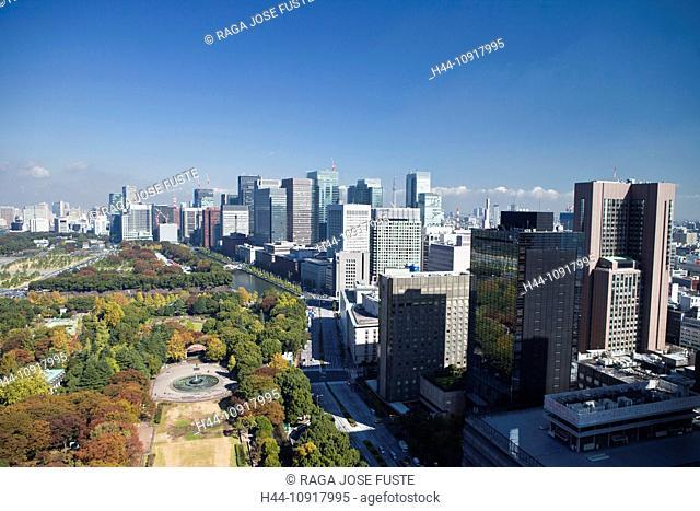 Japan, Asia, Tokyo, city, Hibya Park, Marunouchi, Skyline, Sky, Tree Tower, architecture, blue, central, city, dense, downtown, financial, imperial, park