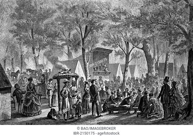 Camp meeting of Methodists, historical woodcut, circa 1870