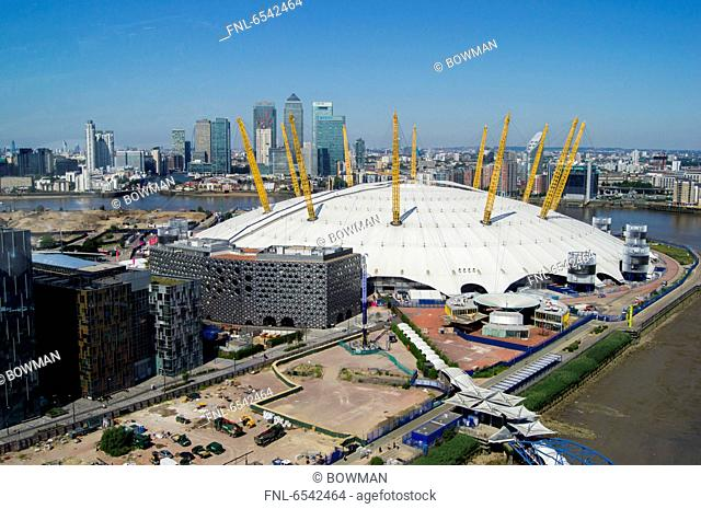 Millennium Dome and Canary Wharf, London, England, Great Britain, Europe