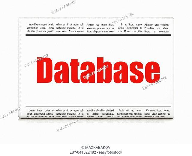 Database concept: newspaper headline Database on White background, 3D rendering