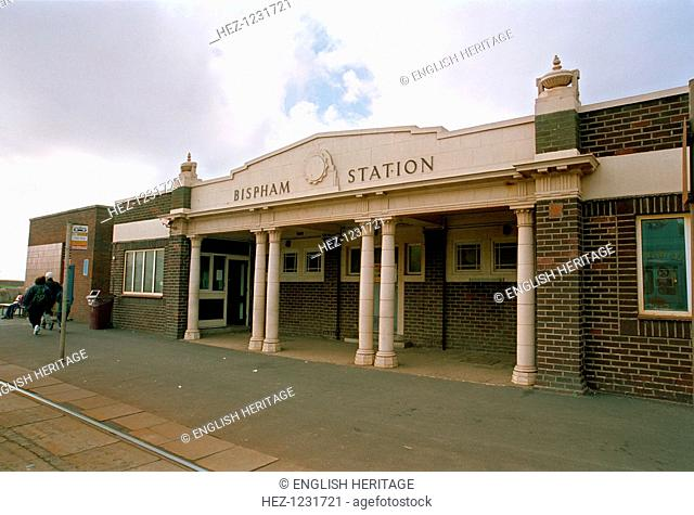 Bispham Station, Blackpool, Lancashire, 1999. The facade of the station with the tram lines are shown on a slightly overcast day