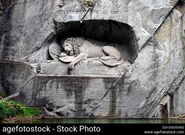 The Lion Monument or the Lion of Lucerne, designed by Bertel Thorvaldsen is a rock relief in Lucerne, Switzerland