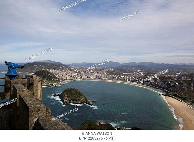 Bay of La Concha beach and the Island of Santa Clara; San Sebastian, Spain