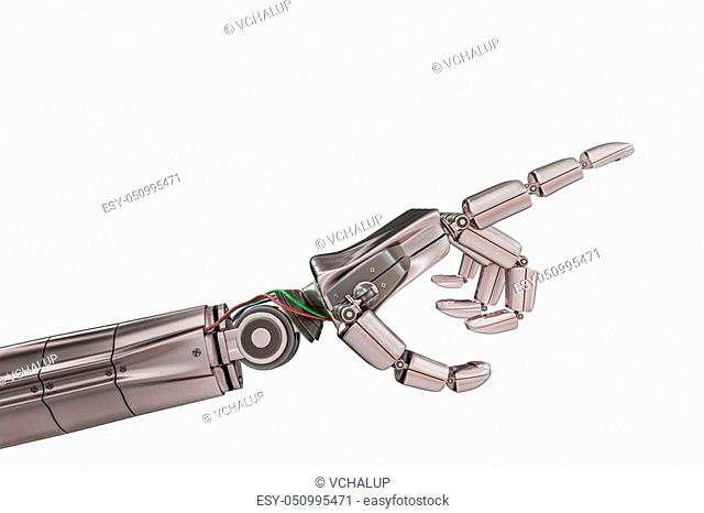 Robotic metallic hand isolated on white background. 3D rendered illustration