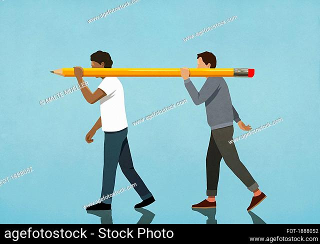 Men carrying large pencil