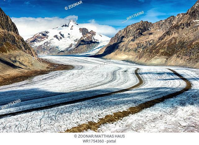 Glacier street and moraine Aletsch Glacier
