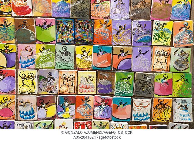 Paintings, souvenirs, Pelourinho, Salvador, Bahia, Brazil