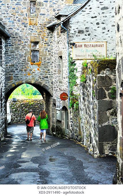 street scne, Salers, Cantal Department, Auvergne, France