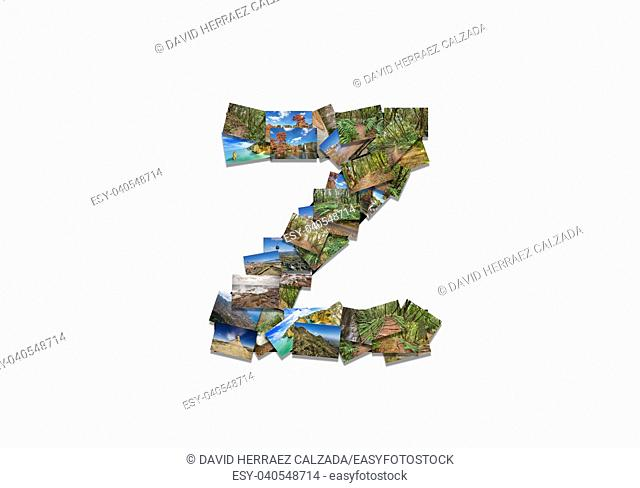 Letter Z uppercase font shape alphabet collage made of my best landscape photographs. Version 3