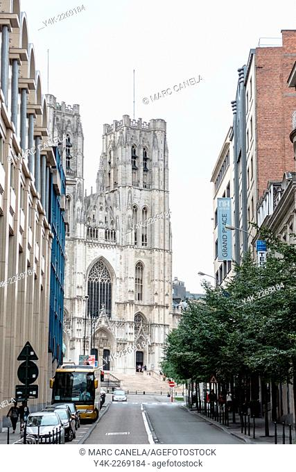 Belgium, Brussels, Europe, Cathedral of St. Michael and St. Gudula