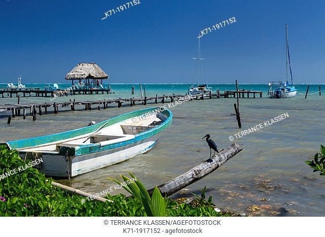 A beach pier on the island of Cay Caulker, Belize
