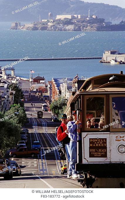 Cable car and Alcatraz Island in background. San Francisco. California. USA