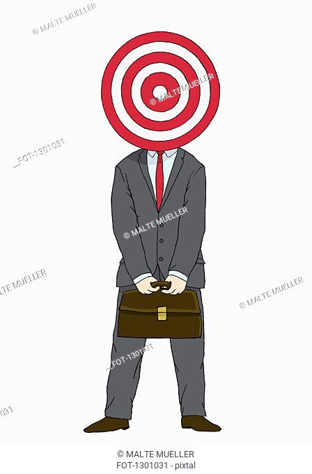 Illustration of businessman with target in front of his head