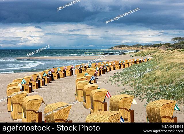 Baltic Sea, Fischland, Darss, seaside resort Wustrow, beach with beach chairs