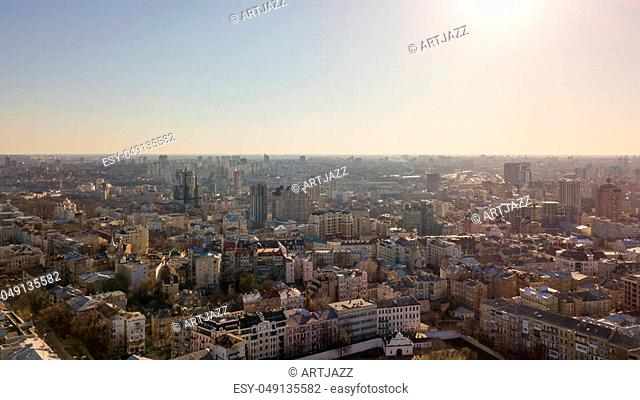 Panorama view of the city of Kiev from a bird's eye view. Flight over the city with Drone photography