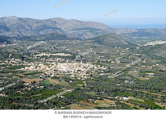 Overview, panoramic view from the Col de Rates, mountains, Parcent, city, Vall de Pop, Pop valley, Marina Alta region, Costa Blanca, Alicante province, Spain