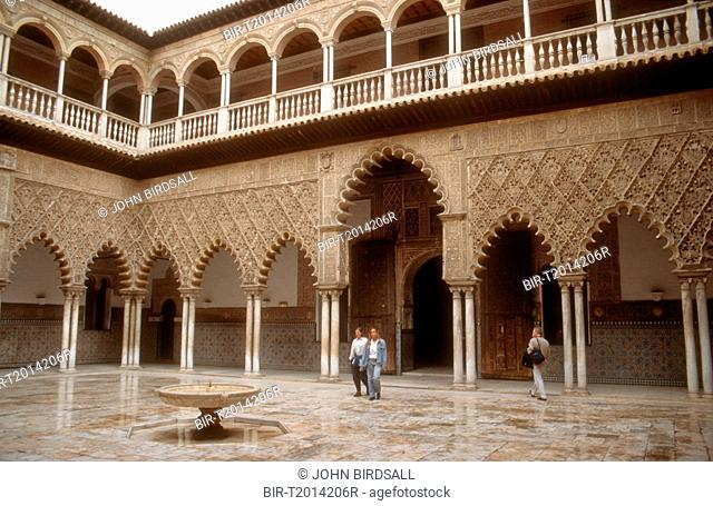 View of courtyard in the Alcazar, Seville