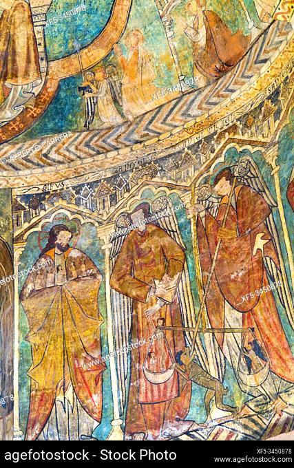 Gothic Paints, Parish Church of St. Martín de Tours de Gazeo, 13th Century Romanesque-Gothic Style, Gazeo, Iruraiz-Gauna, Ã