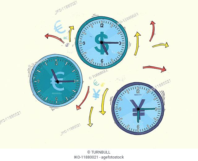 Arrows and currency symbols around euro, yen and dollar clocks
