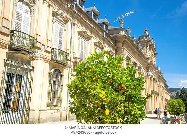 Facade of Royal Palace. La Granja de San Ildefonso, Segovia province, Castilla Leon, Spain