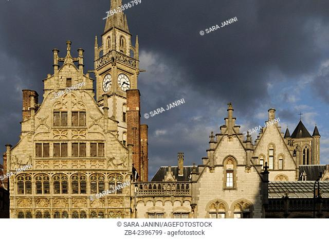 Buildings of Graslei pier from the 11th century, Ghent, Belgium, Europe