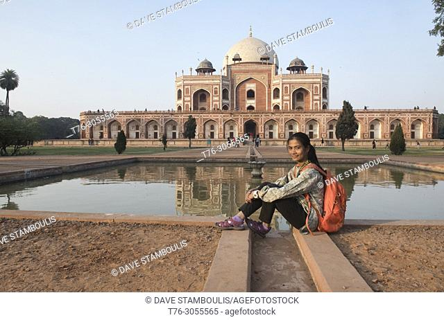 Reflection pool at Humayum's Tomb, a UNESCO World Heritage Site, Delhi, India