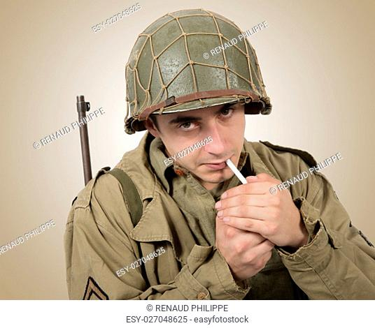 young American soldier smoke a cigarette, world war two