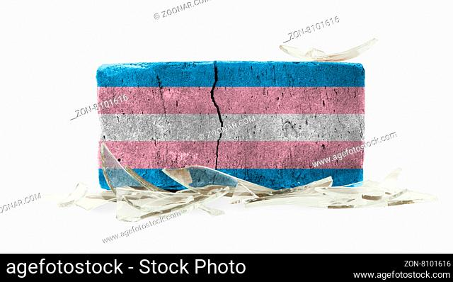 Rough broken brick, isolated on white background, flag of Trans Pride