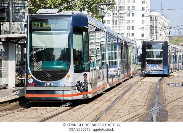 Tram on Mauritsweg Street, Rotterdam, Holland, Netherlands