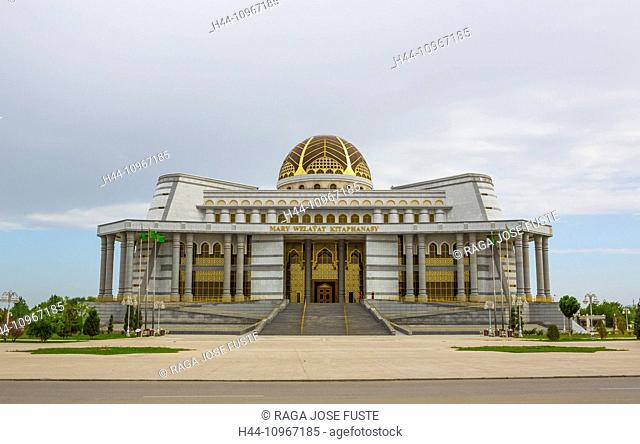 Building, Library, Mary, Turkmenistan, Central Asia, Asia, architecture, city, culture, dome, touristic, travel