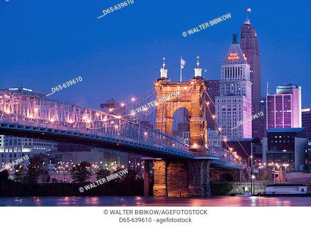 Roebling Suspension Bridge (b.1876) over the Ohio River and Skyline / Pre-Dawn. Cincinnati. Ohio. USA