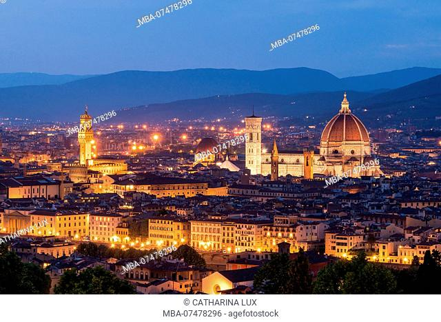 Florence, Dome and Palazzo Vecchio at the blue hour
