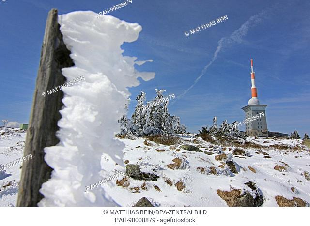 Snow and ice cover the summit of the Brocken mountain near Schierke, Germany, 20 April 2017. The winter returned to the highest summit of the Harz regeion