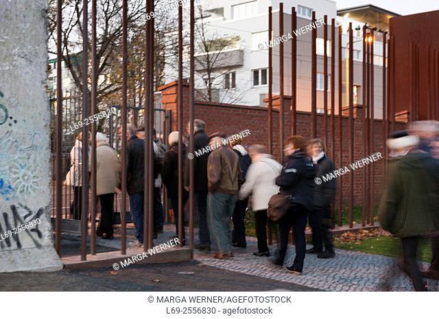 Visitors at Berlin Wall Memorial at Bernauer Strasse, Germany, Europe