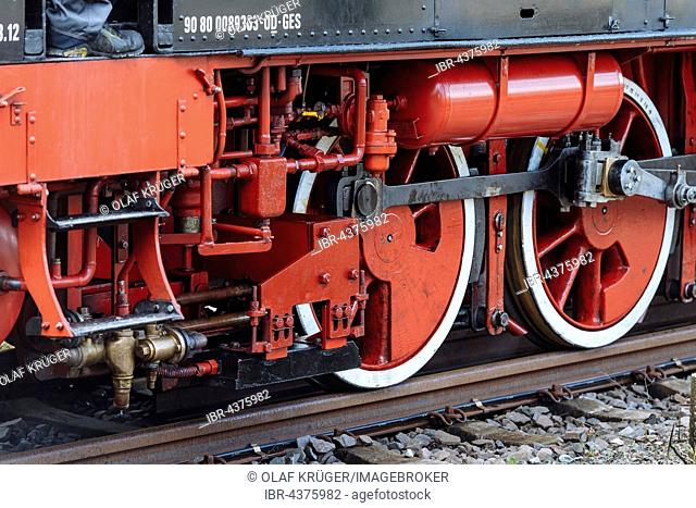 Wheels on railway tracks, detail, historic steam engine Feuriger Elias, Korntal-Münchingen, Baden-Württemberg, Germany, Europe