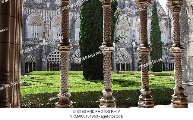 Interior, CU, TILT up, view of Batalha Monastery, portraying medieval Portuguese architecture, built in 1385 by King Joao I