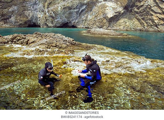 Marine biologists examining algal cover on the rocks, Turkey, Antalya, Olympos National Park, Adrasan
