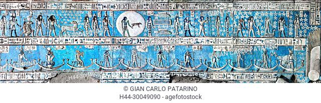 Dendera Egypt, ptolemaic temple dedicated to the goddess Hathor. Carvings on the ceiling recently cleaned
