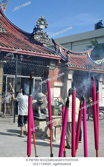 George Town, Penang (Malaysia): big incense sticks at the entrance of the Goddess of Mercy Chinese Temple