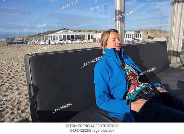 Dutch woman enjoying the spring in Holland
