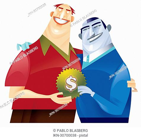 Two men holding cog with dollar sign decoration