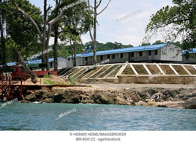 Living huts for the workers of the refinery and harbour area of the Ramu Nickel Mine, chinese mining company, Basamuk, Papua New Guinea, Melanesia