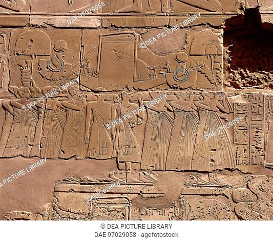 Egypt - Ancient Thebes (UNESCO World Heritage List, 1979) - Luxor - Karnak - temple complex of Amun. Hypostyle large atrium, interior walls
