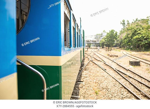 Riding the Yangon Circular Railway. Yangon, Myanmar