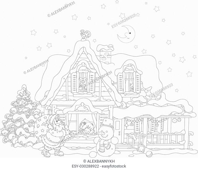 Santa With Bag Coloring Book Stock Photos And Images Age